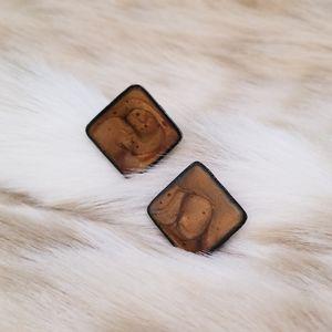 Vintage Mod Enameled Square Button Earrings